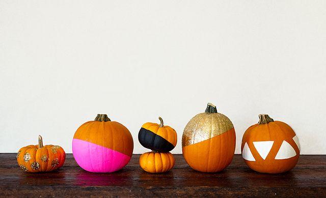 Modern painted pumpkins fall o ween pinterest