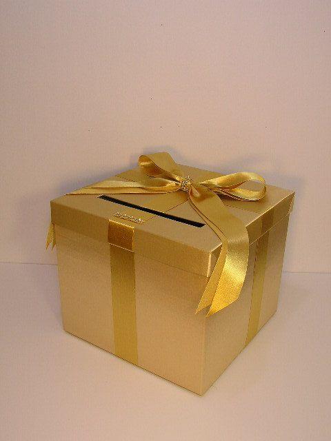 Gold Wedding Card Box Gift Card Box Money Box Holder-Customize your c ...