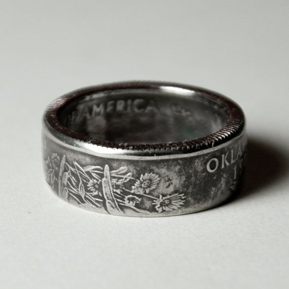 oklahoma quarter coin ring. - I want this to be my wedding ring.