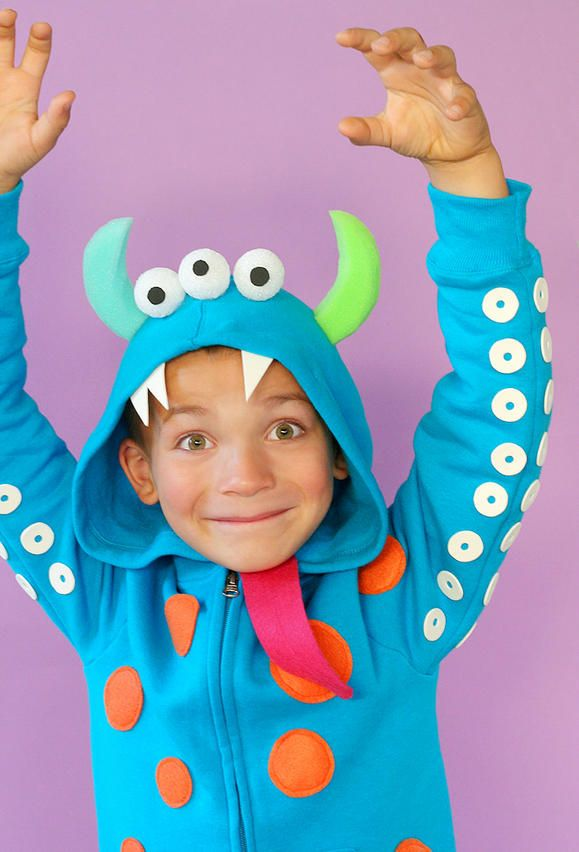 diy monster costume...decorate a sweatshirt to create a cute or scary monster...instructions provided