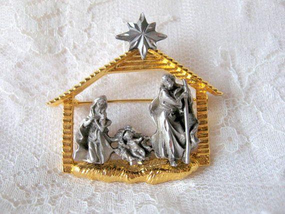 Vintage christmas nativity manger holy family by antiquesdujour 24
