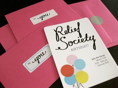 RELIEF SOCIETY BIRTHDAY INVITATIONS