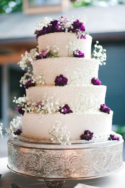 Wedding Cake with Purple Flowers + Baby's Breath. As seen on SMP: http://www.StyleMePretty.com/2014/05/24/horse-farm-wedding-in-saratoga-springs-new-york/ #cake  - Sj2 Photography - sj2blog.com