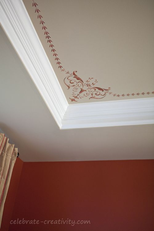 Stenciled Ceiling Project by Lisa at Celebrate Creativity using the Royal Design Studio 19th Century Border Ceiling Stencil and the coordinating 19th Century Border Stencil.