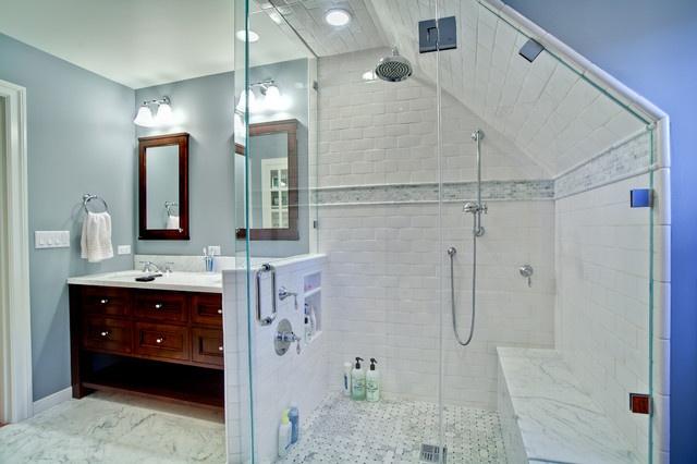 Sloped ceiling bathrooms closets pinterest for Slanted ceiling bathroom ideas