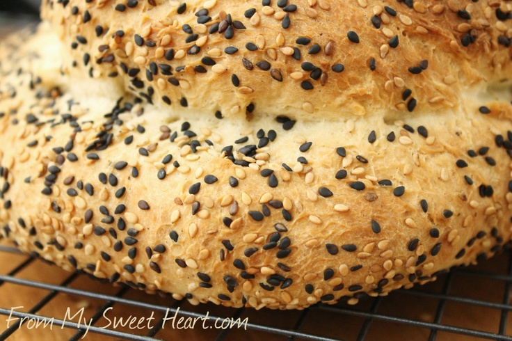 Black & White Sesame Seed Bread | Breads and sweet breads = donuts, m ...