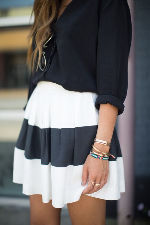 Arm party, feminine skirt, loose waves, and rolled sleeves = office chic, but still embracing the laid back vibe of the season!