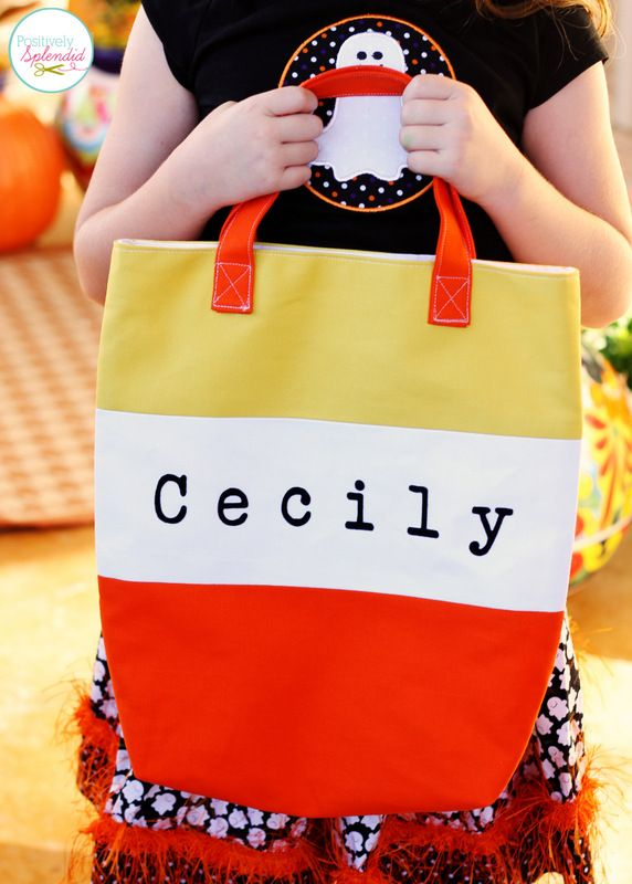 Candy Corn Tote Bag Tutorial. Perfect for trick-or-treating! #sewing #halloween #candycorn