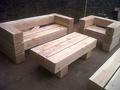 Chunky Wooden Garden Furniture