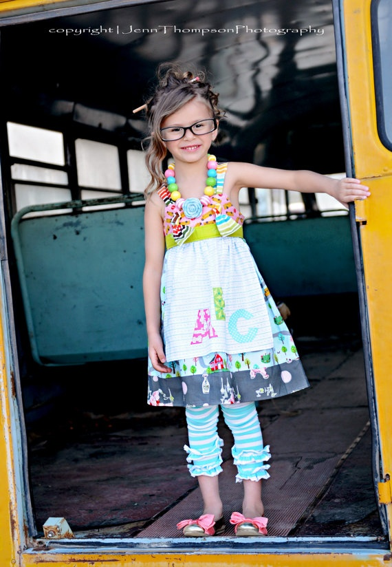 First Day of Kindergarten outfit! Custom Aqua Fresh Ruffle leggings or ...