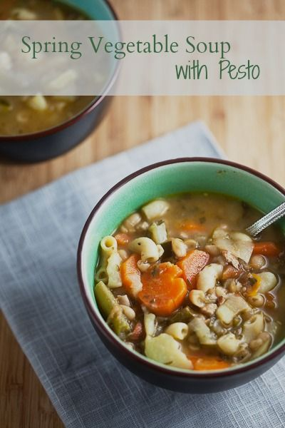 Spring Vegetable Soup with Pesto - Healthy. Delicious.