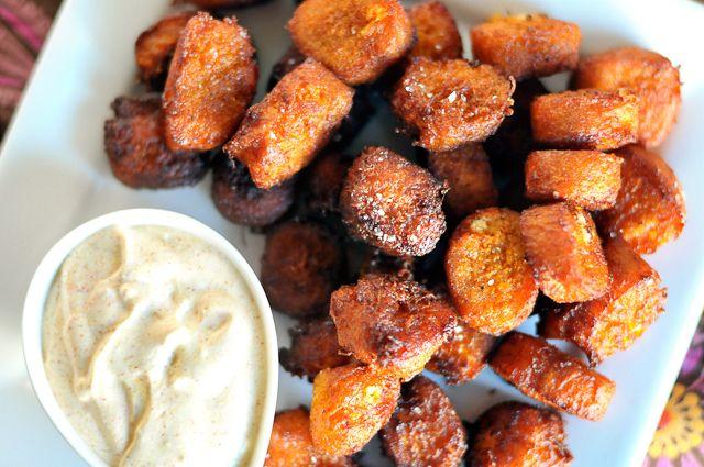 sweet-potato goat-cheese tater tots via heathersdish.com