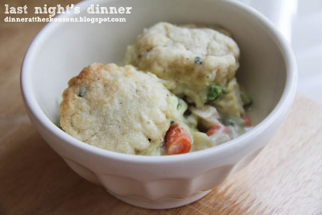 Chicken Pot Pie with Cream Cheese Chive Biscuits