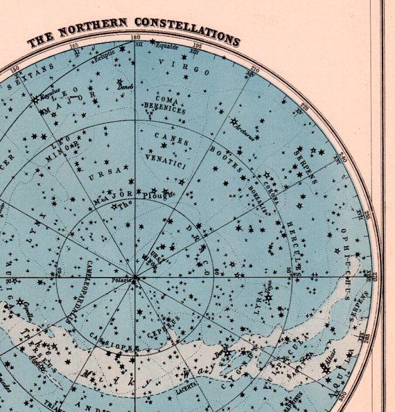 star map Nothern stars constellation chart vintage Northern Hemisphere ...