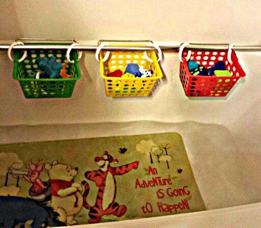 Awesome Bath Toy Organizer Scoop Storage Bin Toddler Kid Box Sucker Bathroom
