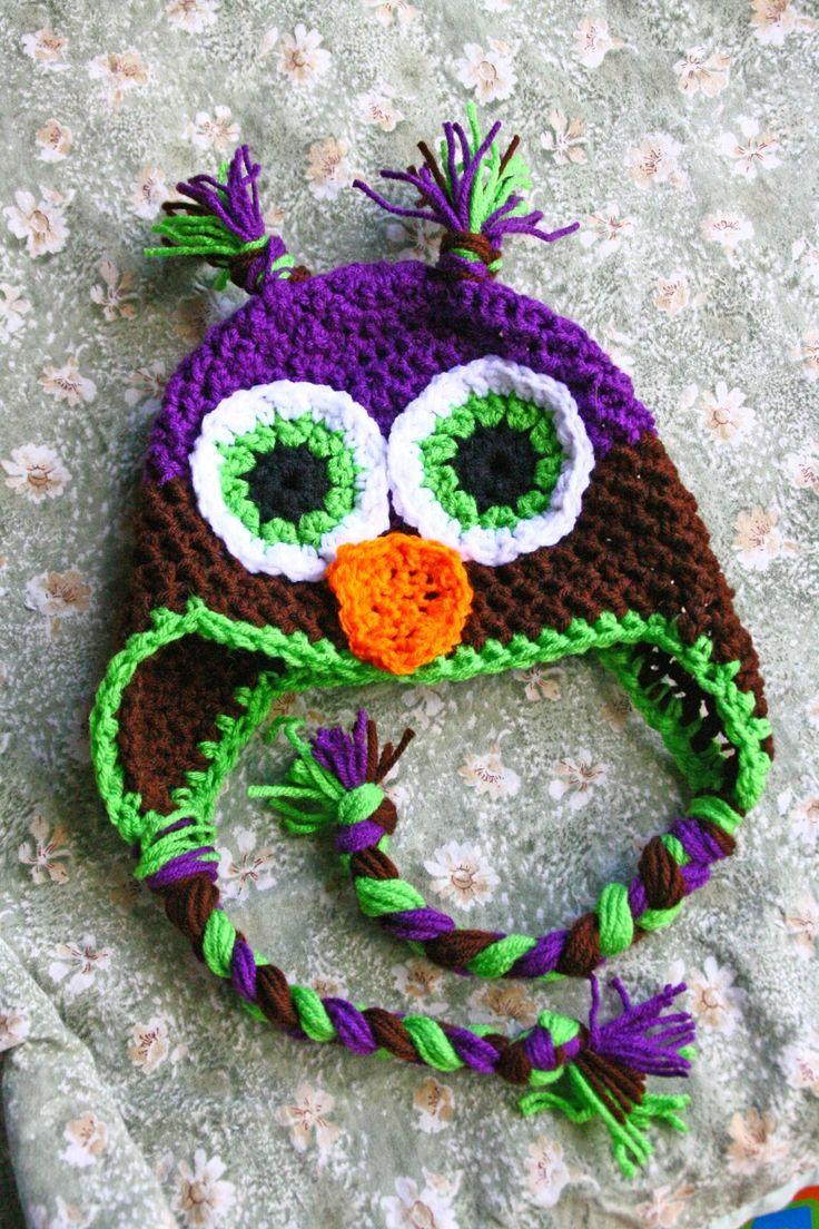 Free Pattern Crochet Owl Hat : Crochet Owl Hat Pattern Yarn Ideas Pinterest