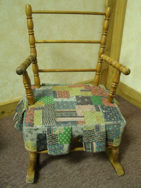 Vintage Childs Rocking Chair Patchwork seat by iluvjewelz, $14.99