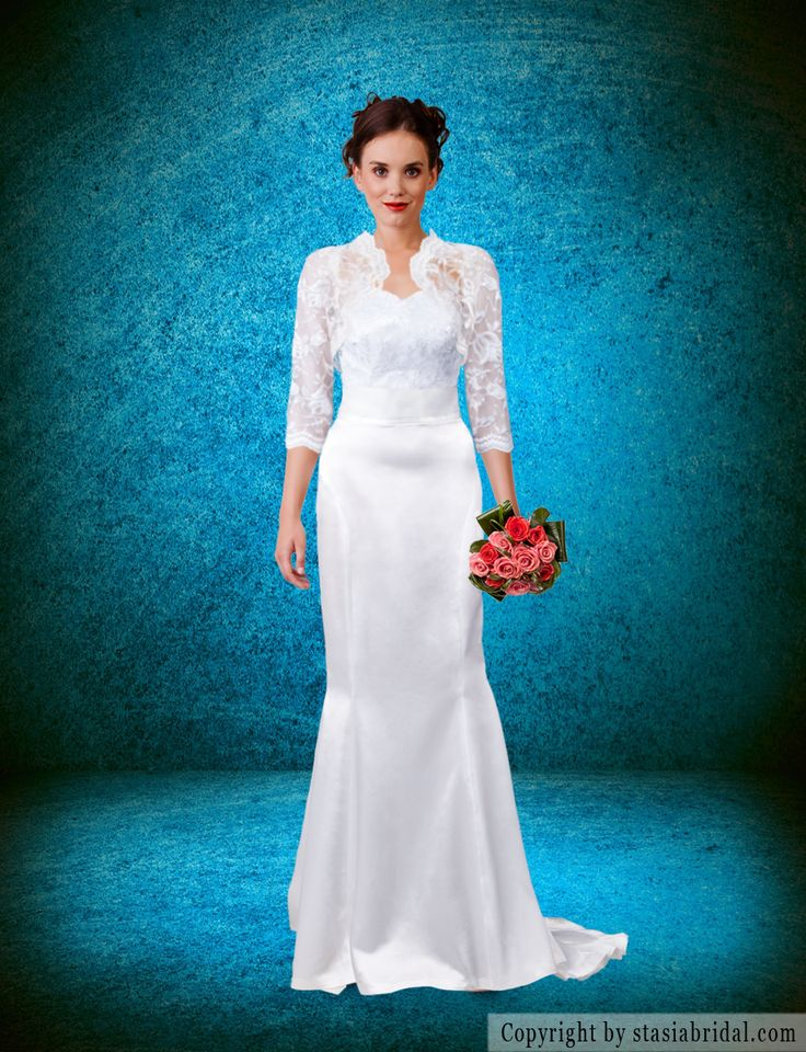 Handmade Wedding Dresses Chicago : Modest wedding dress with sleeves custom gown and