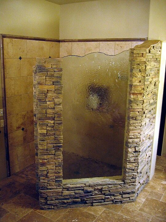 Cool walk in shower things to put in my house pinterest for Rock bathroom designs
