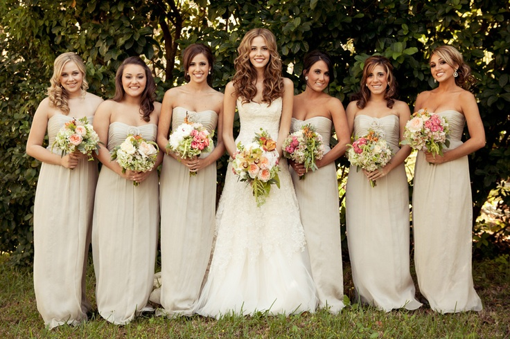 White bridesmaid dresses with colored