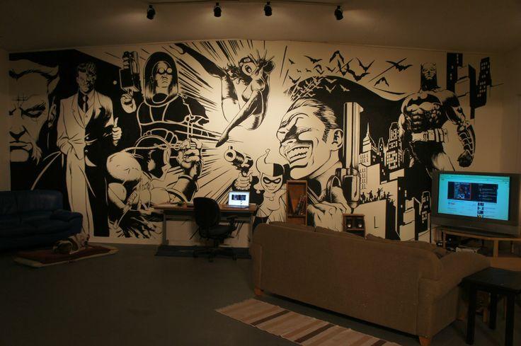 comic book wall mural game on room pinterest superhero home gym wall mural marvel comics avengers