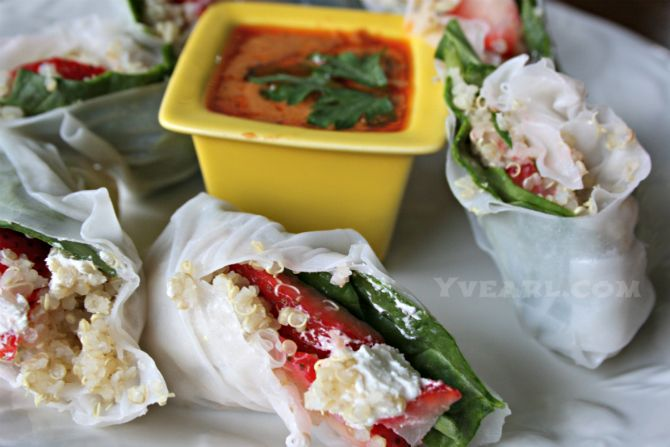 Quinoa Salad Spring Rolls with Spicy Peanut Dipping Sauce. Vegetarian ...
