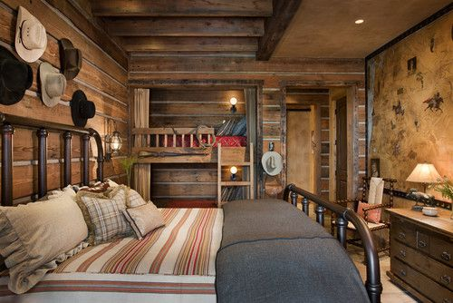queen-size bed and bunks