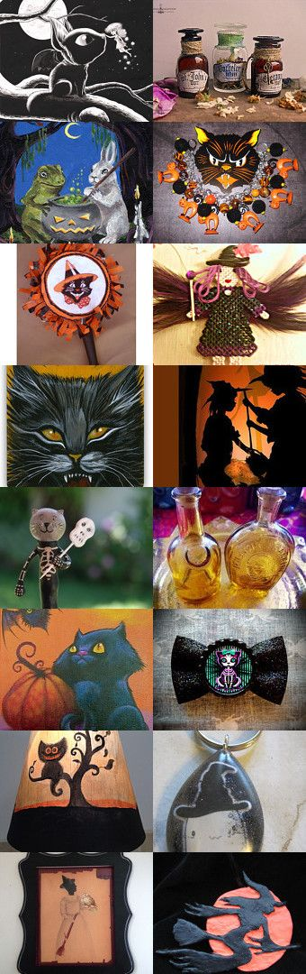 Black Cats and Witches Brew by Shelly on Etsy--Pinned with TreasuryPin.com #halloween #halloweenartistbazaar
