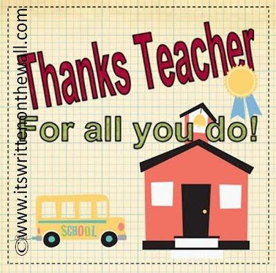 Free Note for Teacher's Gift/ Teacher Appreciation
