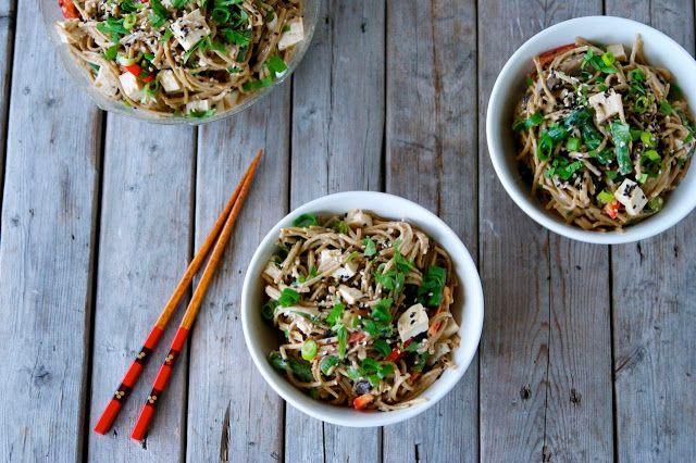 Vegan sesame soba noodle salad with tofu