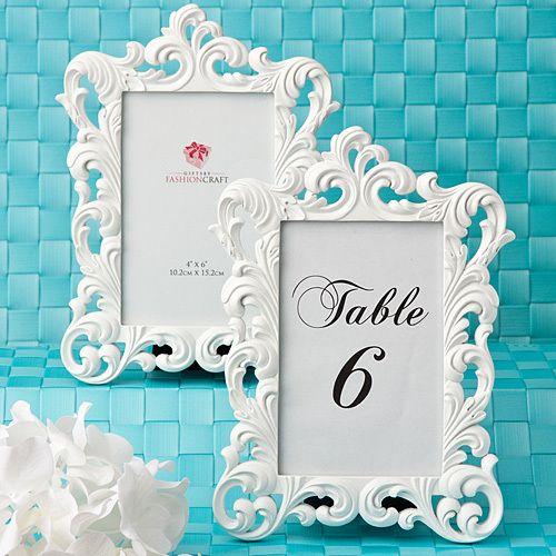 36 Baroque White Frame Table Number Holders For Weddings