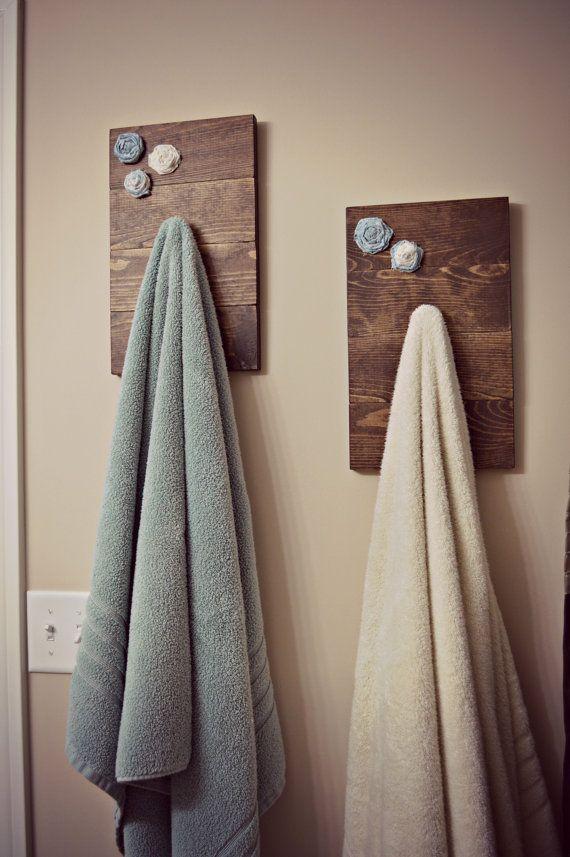 rustic hand bath towel holder