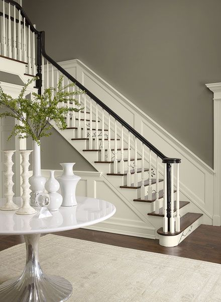 Hallway in contrasting neutral paint colors - Benjamin moore - taos taupe 2111-40 walls, collector's item AF-45 stair risers, trim and wainscotting, hasbrouck brown HC-71 accent