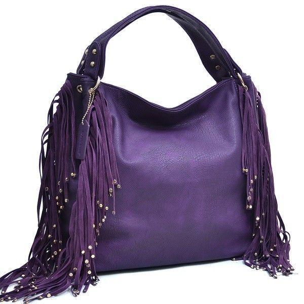 Womens Purple Studded Fringe Fashion Hobo Shoulder Bag Purse