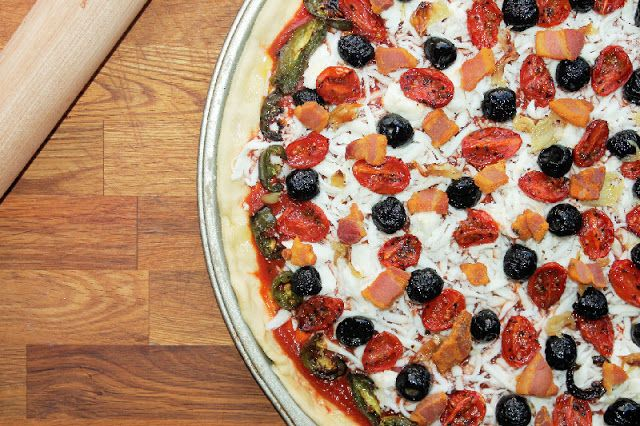 ... : Roasted Veggie Pizza with Pancetta Cracklings and Spicy Olive Oil