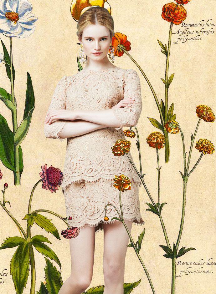 Посмотрите на День Dolce & Gabbana весна-лето 2014 женская Нейтральный Кружева топ и юбка