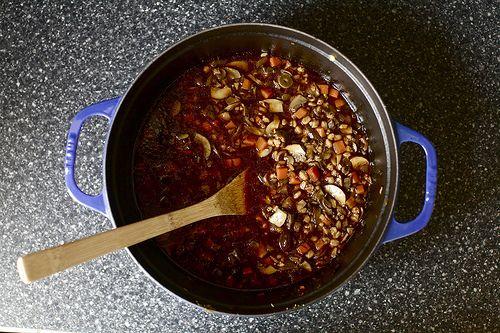 Mushroom and farro soup (thank you SmittenKitchen!)