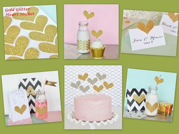 DIY Gold Glitter Heart Stickers from HotRef.com
