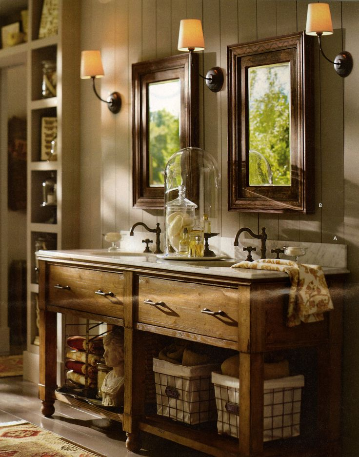 Rustic double bathroom sinks and mirrors a to be re pined p for Rustic vanity mirrors for bathroom