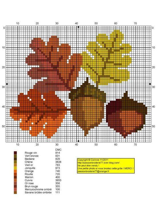 Схемы вышивки крестиком осенних листьев