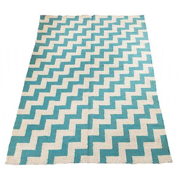 Chevron Wool Rug in Turquoise  For the Home  Pinterest