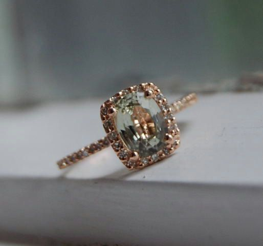 Jasmine sapphire in 14k rose gold diamond ring-final payment-reserved. $300.00, via Etsy.