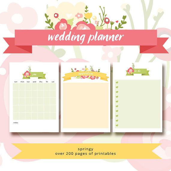 Wedding Planner Printable Wedding Planner Cover