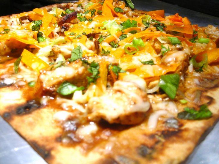 Thai Chicken Flatbread Pizza (Lavash/lohvash, lavosh...wow, so many ...