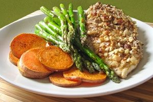 Almond Crusted Chicken with Sweet Potatoes and Asparagus-I saw on Dr. Oz's show