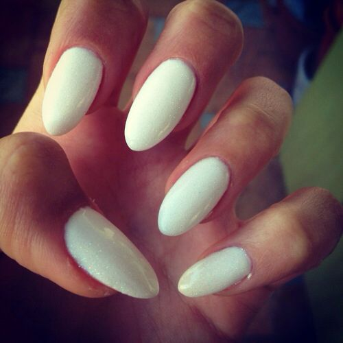 white sparkle almond nails nail love pinterest. Black Bedroom Furniture Sets. Home Design Ideas