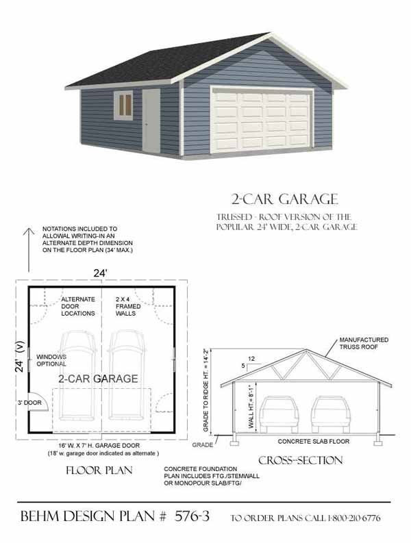 2 car garage plan 576 3 by behm design for the home for 2 car garage house plans