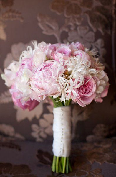 Pink and White Bridal bouquet.  Pink peonies, pink garden roses, white nerine liles