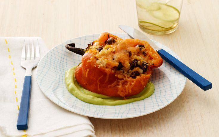 Stuffed Red Bell Peppers with Whole-Wheat Couscous and Avocado Sauce ...