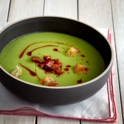 Green peas soup with chorizo | Soups | Pinterest